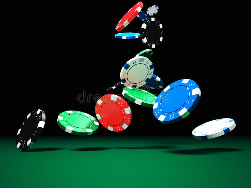 Cinco microplaquetas coloridas do póquer ilustração stock