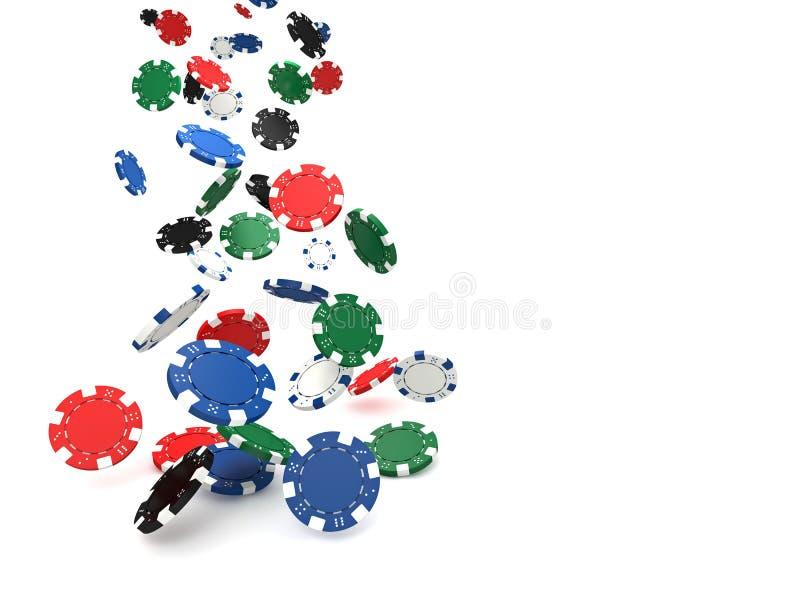 Cinco microplaquetas coloridas do póquer ilustração royalty free