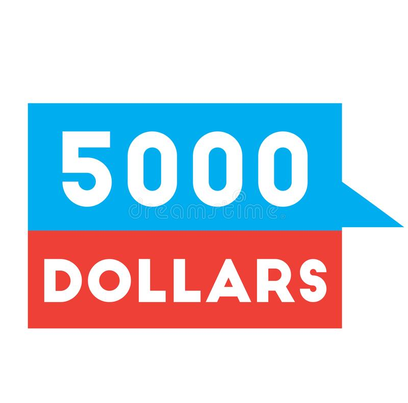 Cinco mil dólares que anunciam a etiqueta ilustração stock