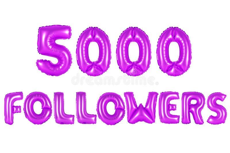 Cinco mil seguidores, cor roxa imagem de stock