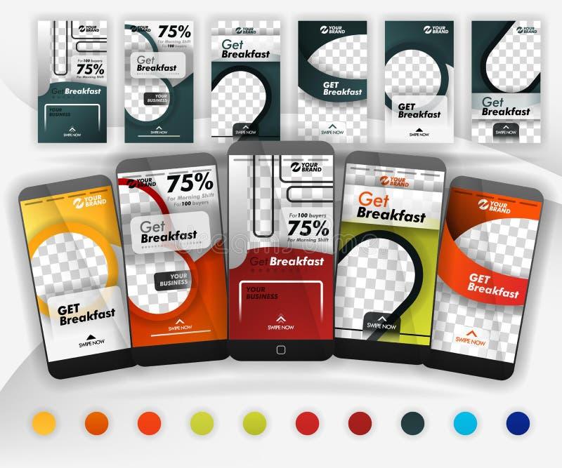 Cinco moldes sociais do furto dos meios com as cores 10+ que incluem o modelo apropriado do smartphone para o negócio do alimento ilustração do vetor