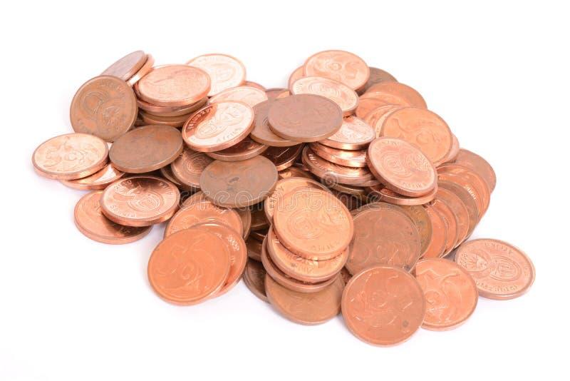 Cinco monedas de los centavos - rand sudafricano foto de archivo libre de regalías