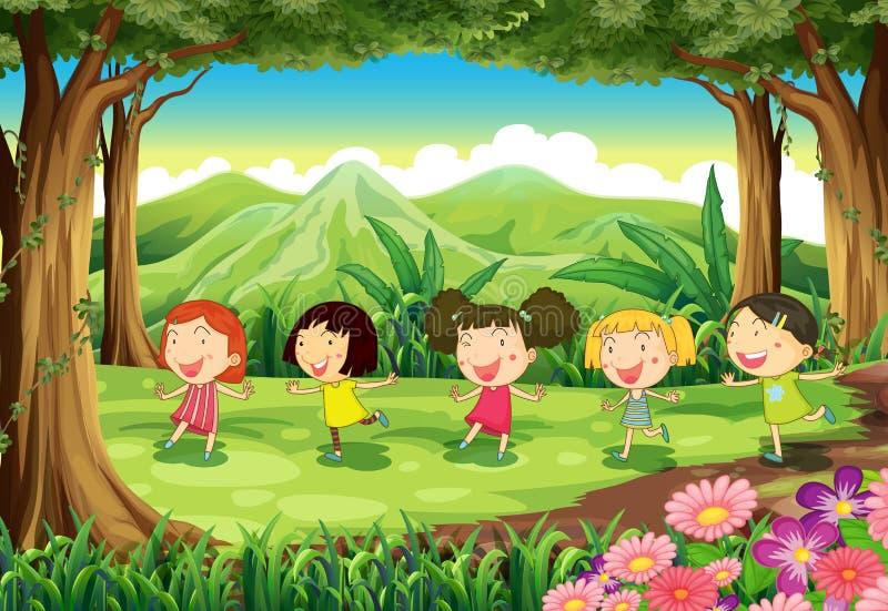 Cinco muchachas que juegan en el medio del bosque ilustración del vector