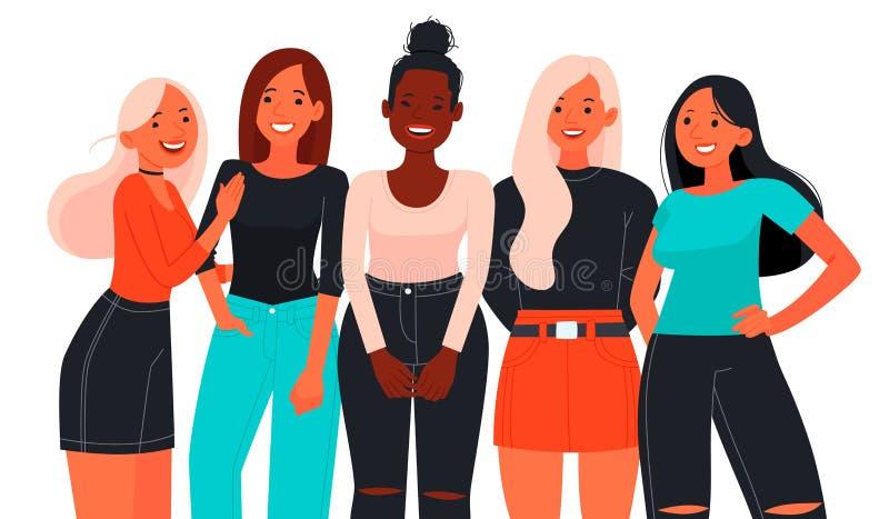Cinco mujeres jovenes o muchachas hermosas vestidas en la ropa de moda, uniéndose stock de ilustración