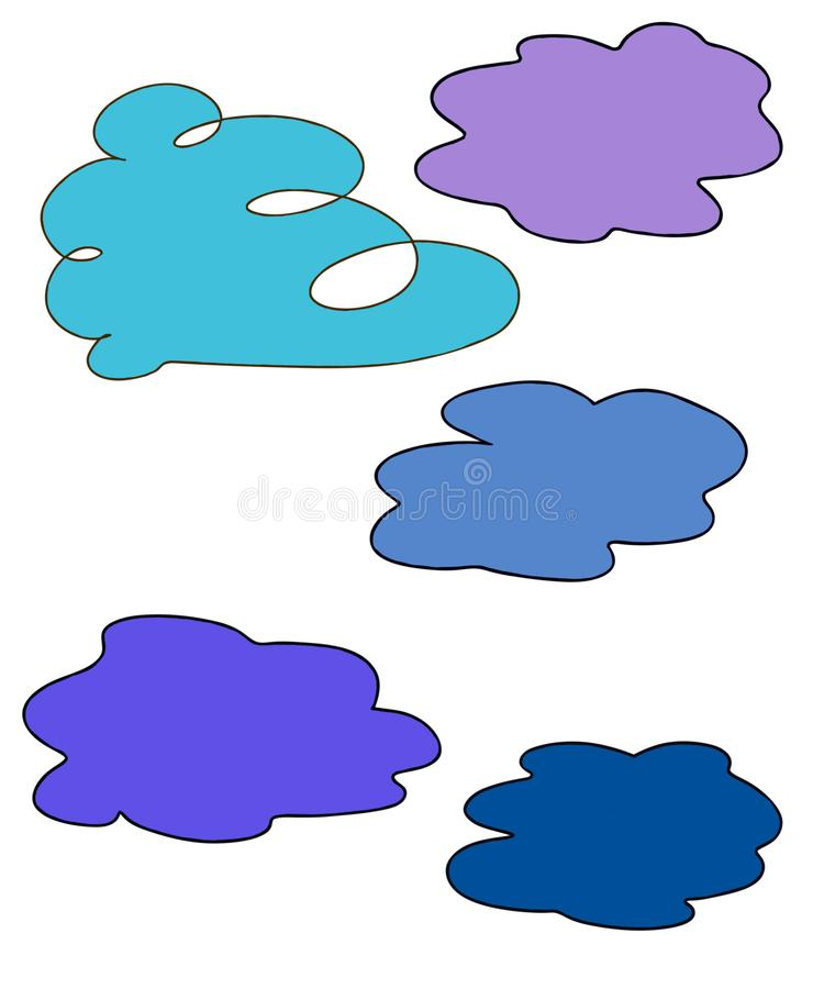 Cinco nuvens para livros de crianças imagens de stock