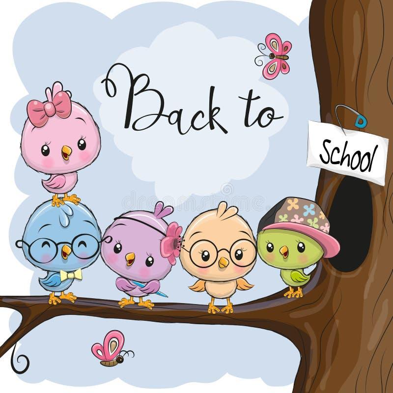 Cinco pájaros de la historieta en la rama stock de ilustración