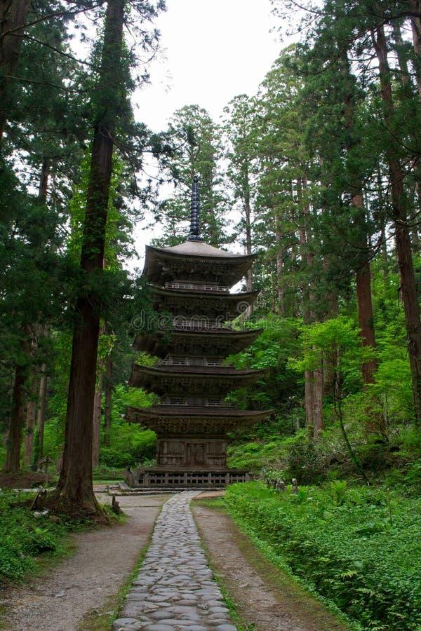 Cinco pagode contado, montagem Haguro fotografia de stock