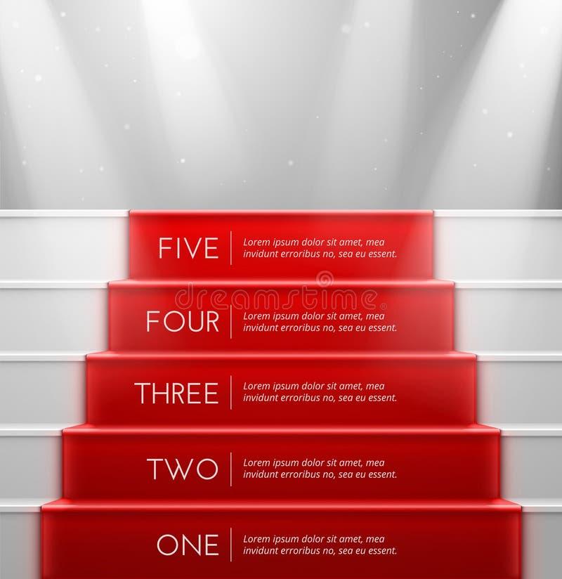 Cinco pasos ilustración del vector
