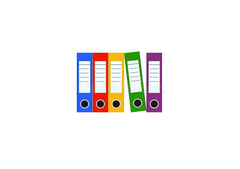 Cinco pastas de arquivos coloridas da pasta de anel ilustração stock