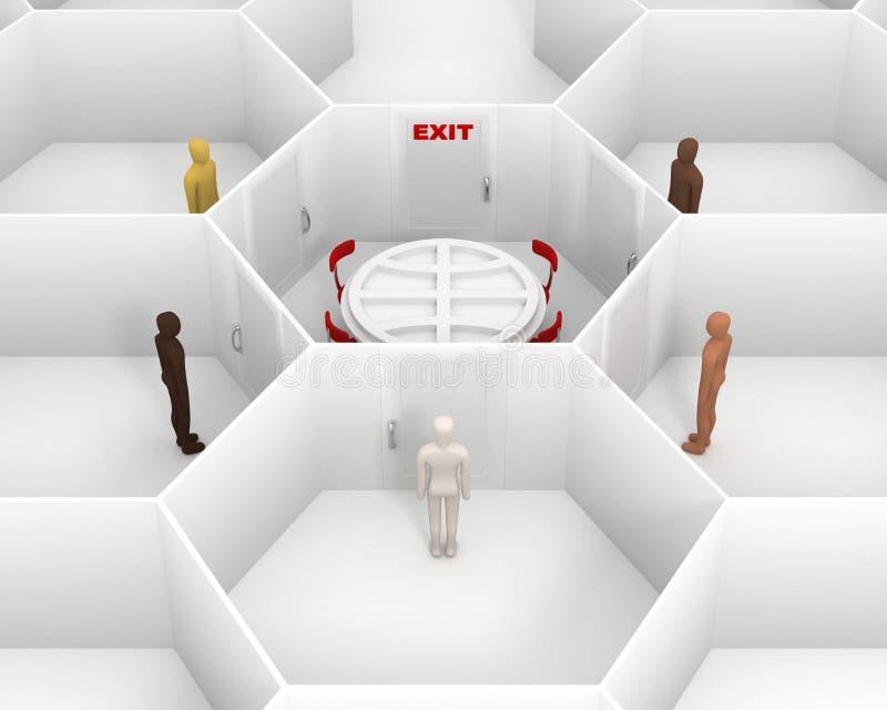Cinco personas que se colocan alrededor del cuarto blanco cerrado con la mesa redonda y a puerta cerrada con una muestra roja de  ilustración del vector