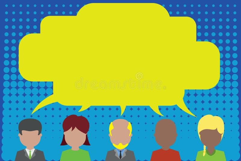 Cinco pessoas diferentes da raça que compartilham da bolha do discurso Homens, mulheres, menino, tendo a conversação Homem do cab ilustração stock