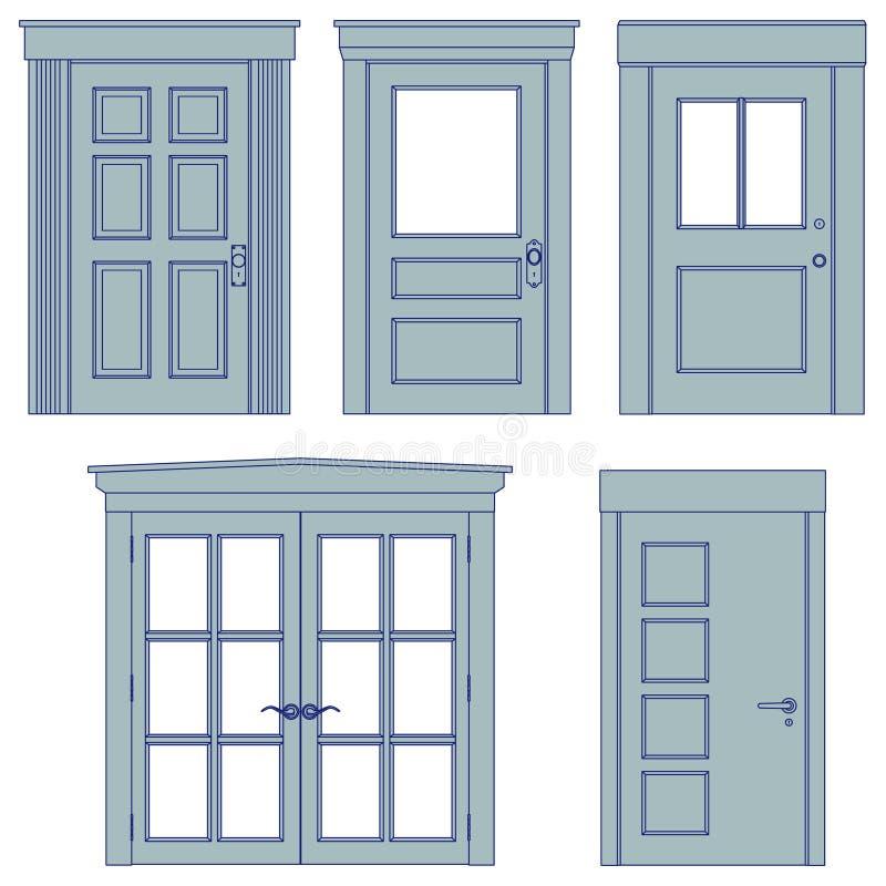 Cinco portas - modelos ilustração stock
