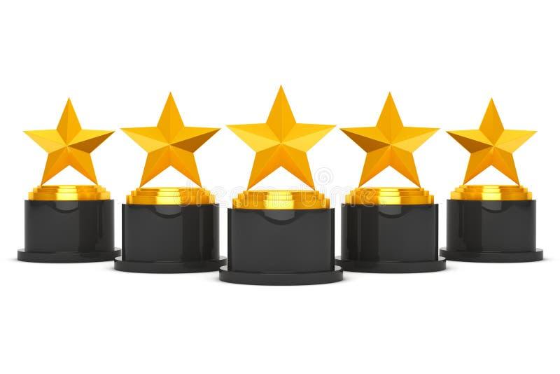 Cinco premios de la estrella del oro representación 3d stock de ilustración