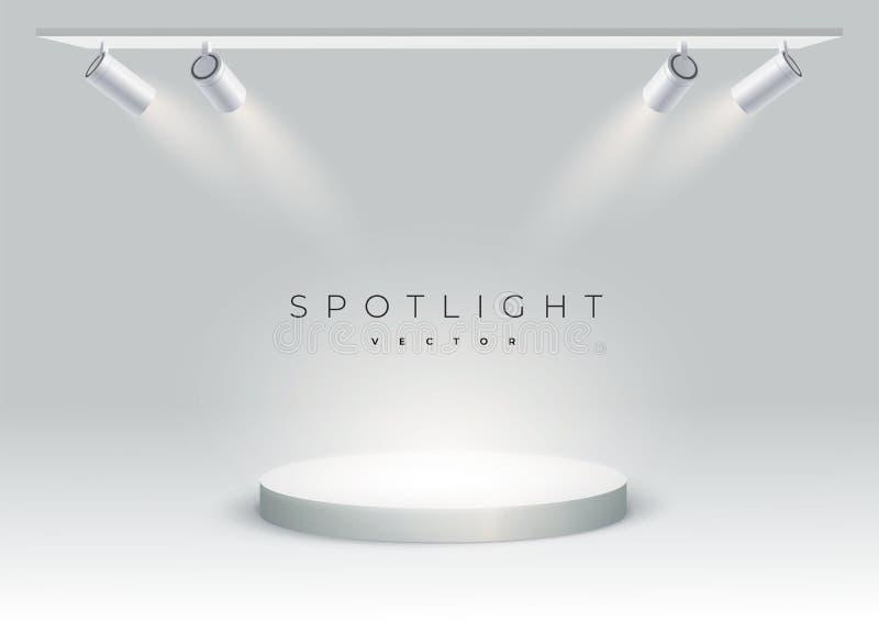 Cinco projetores modernos brilham no pódio, ponto, fase vazio o projetor brilha em um ângulo no ponto Pódio redondo, suporte ou ilustração stock