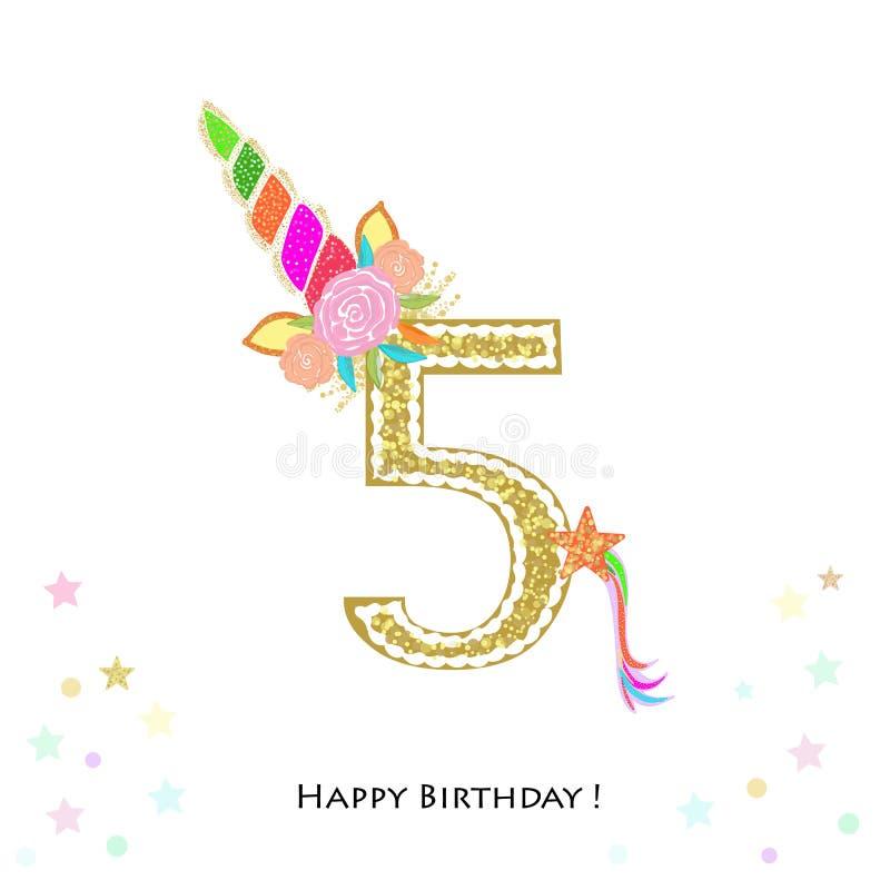 cinco Quinto aniversário Convite colorido do aniversário do unicórnio Festa do bebê, cartão do convite do partido ilustração royalty free
