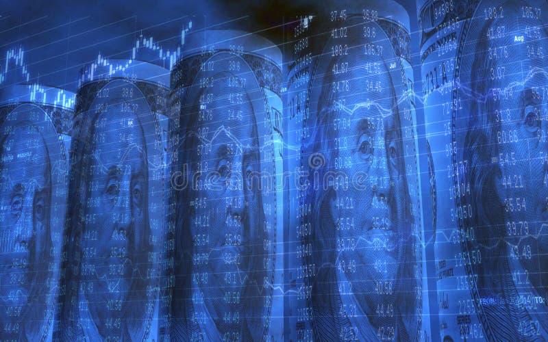 Cinco rolaram acima de 100 dólares de contas com dados conservados em estoque ilustração royalty free