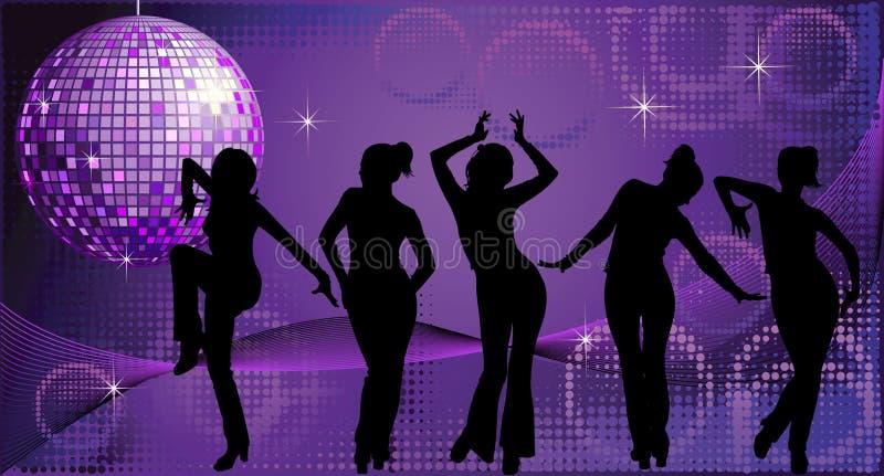 Cinco silhuetas de dança das mulheres no fundo do disco ilustração do vetor