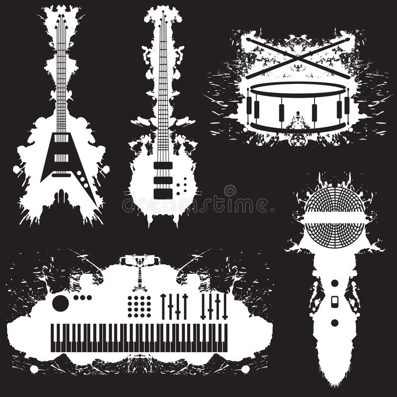 Cinco stylized los instrumentos musicales libre illustration
