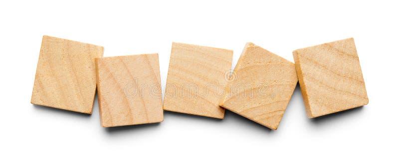 Cinco telhas de madeira imagem de stock