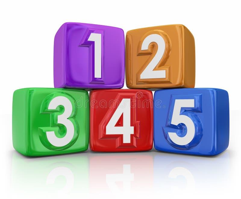 5 cinco unidades de creación básicas de los elementos de los principios que cuentan los cubos ilustración del vector