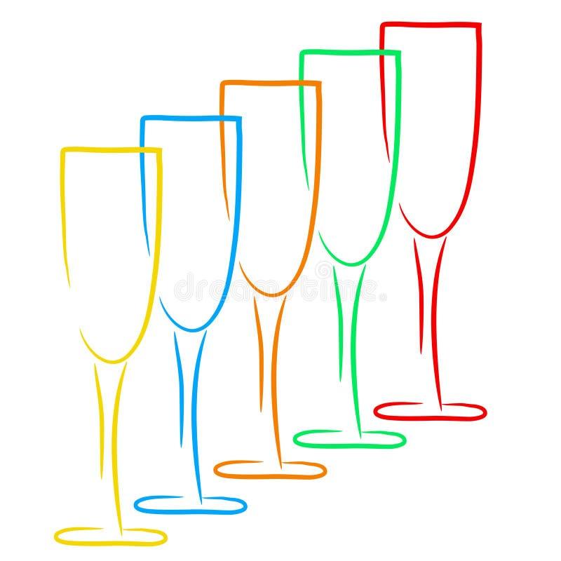 Cinco vidrios del champán, logotipo del negocio, concepto del lagar, vec común ilustración del vector