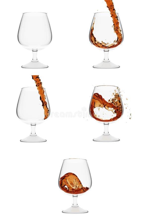 Cinco vidrios del coñac que muestran el proceso de verter el liq stock de ilustración