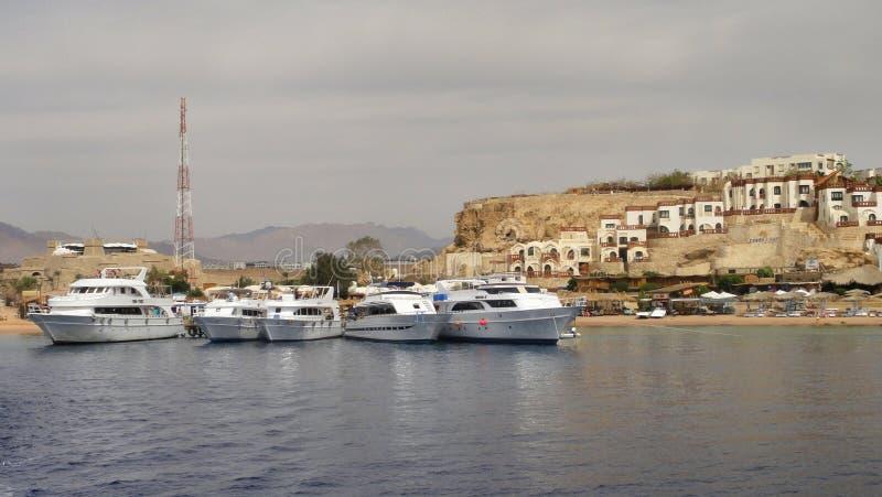 Cinco yates blancos en el Mar Rojo cerca del EL Sheikh Egypt de Sharm imagenes de archivo