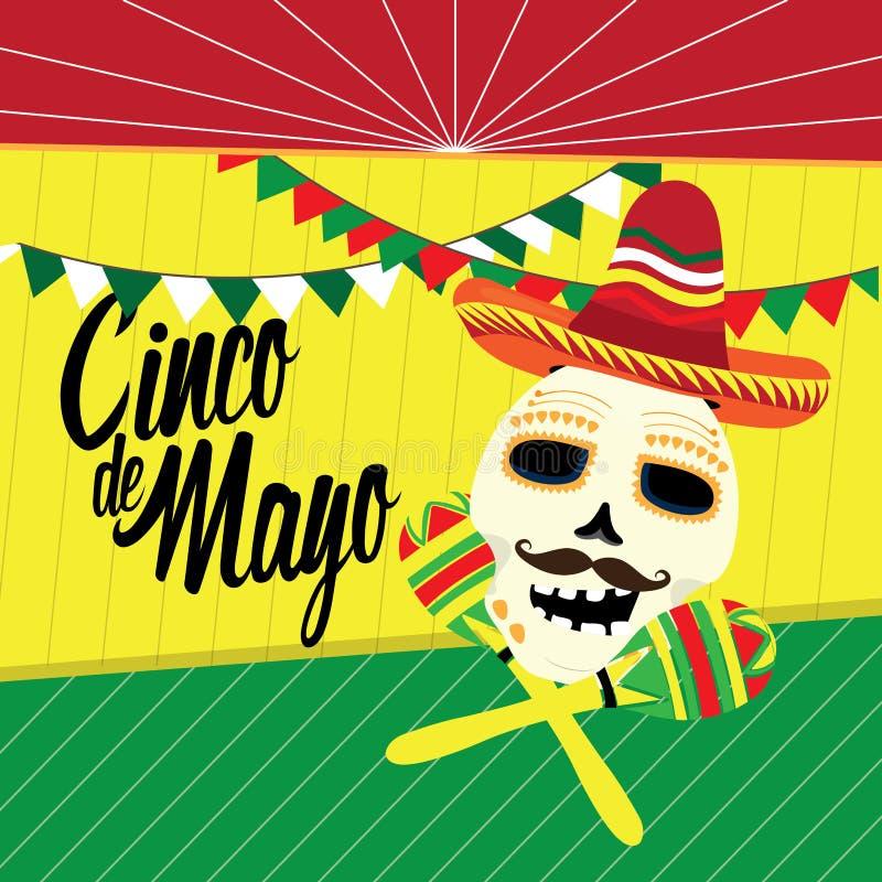 Cincode Mayo affiche met een schedel en maracas vector illustratie