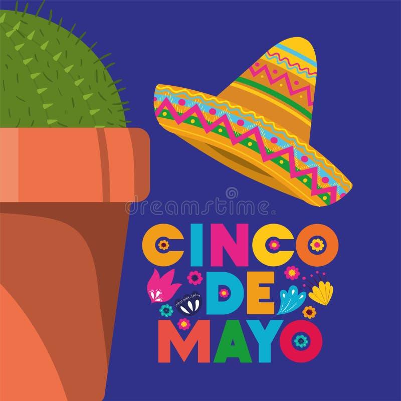 Cincode Mayo kaart met cactus en hoed stock illustratie