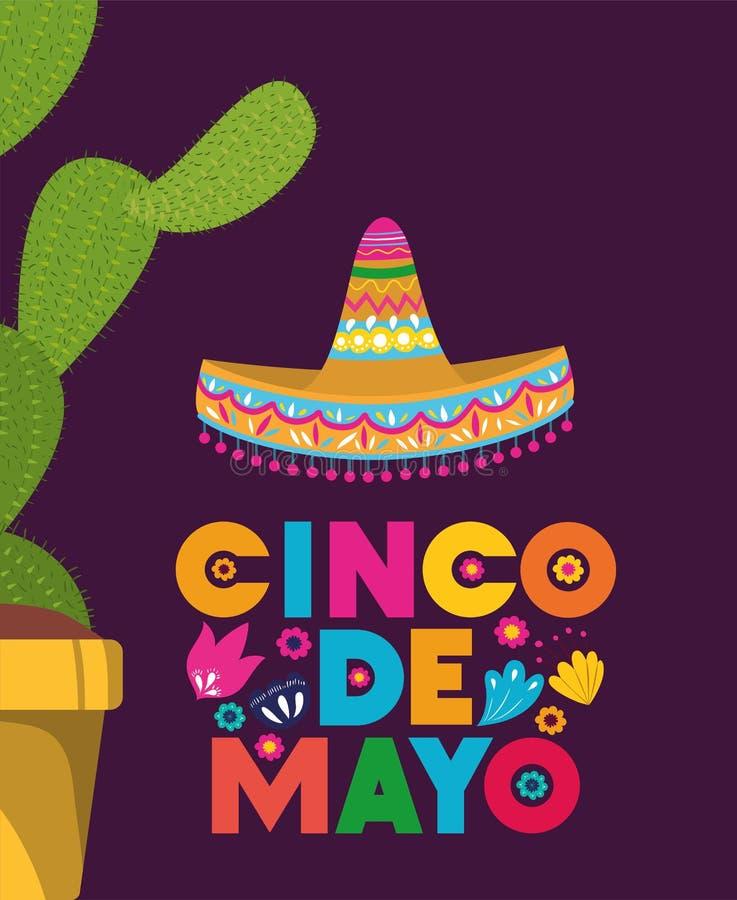 Cincode Mayo kaart met cactus en hoed royalty-vrije illustratie