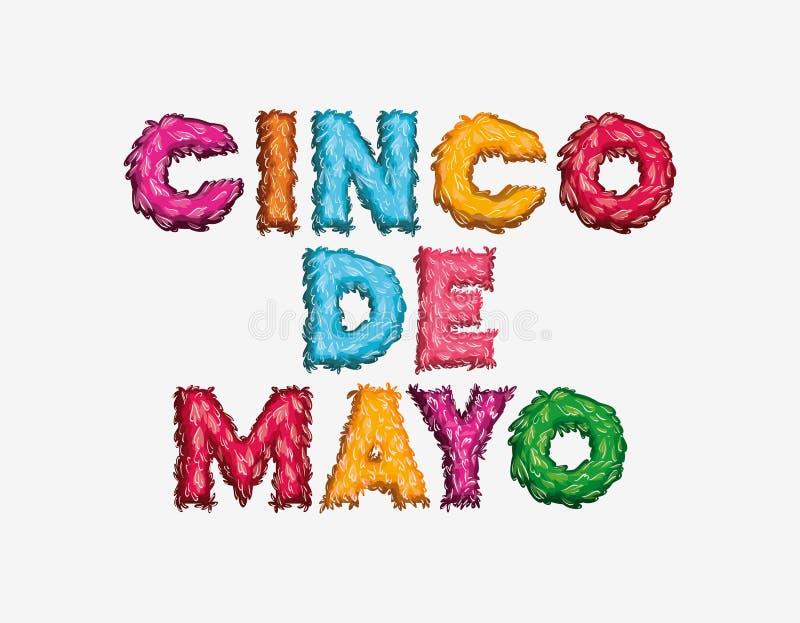 Cincode Mayo kaart met doopvontkleuren royalty-vrije illustratie