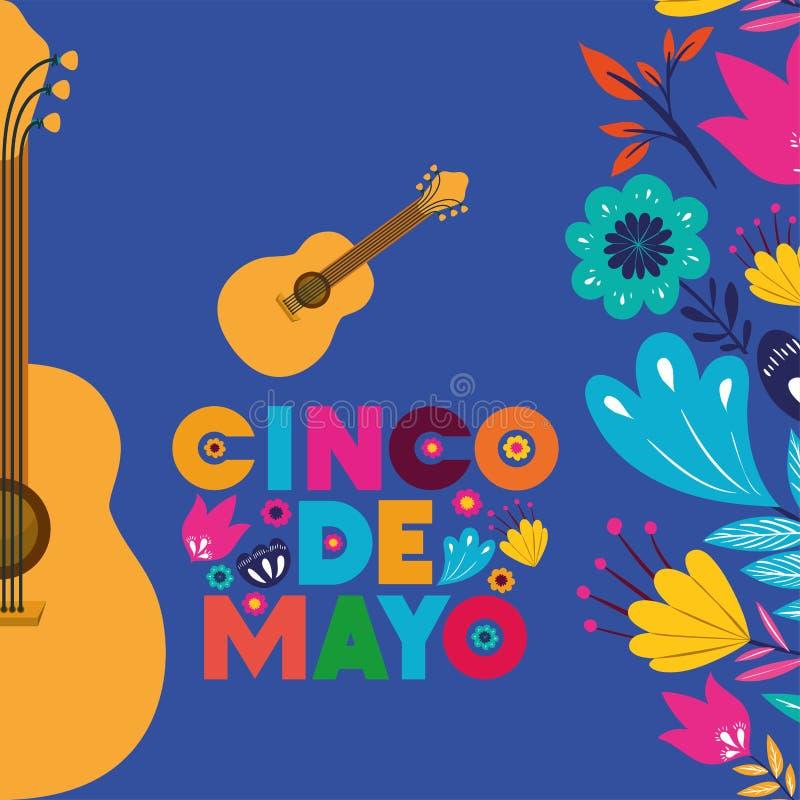 Cincode Mayo kaart met gitaren en bloemen vector illustratie