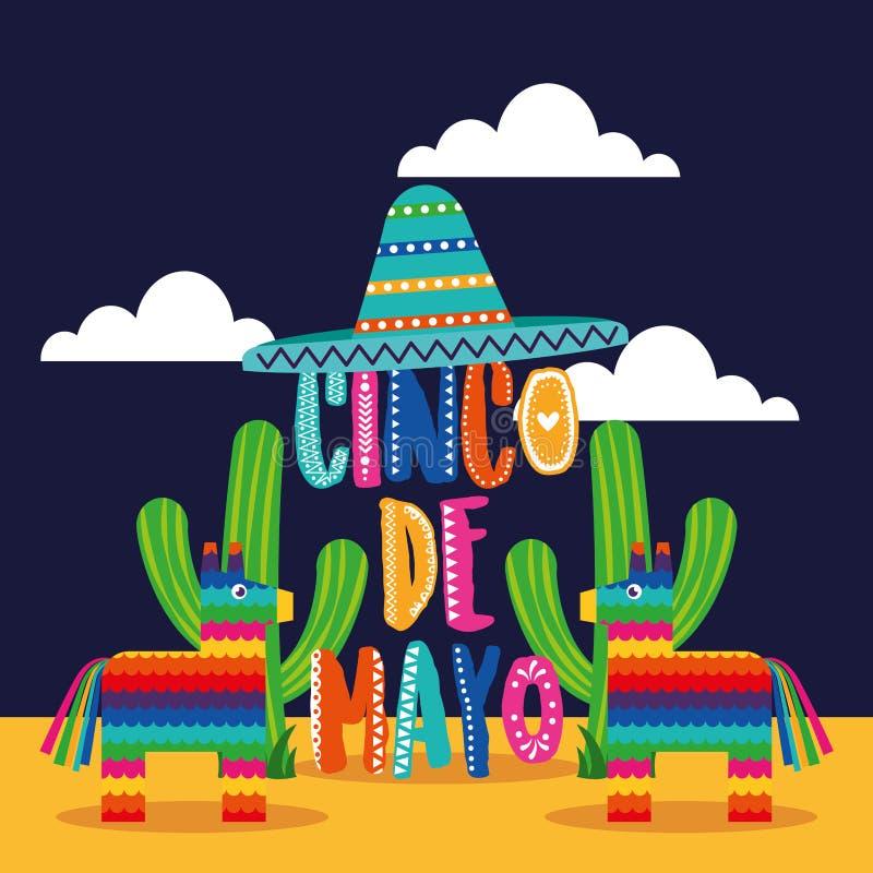 Cincode Mayo kaart van Mexico vector illustratie