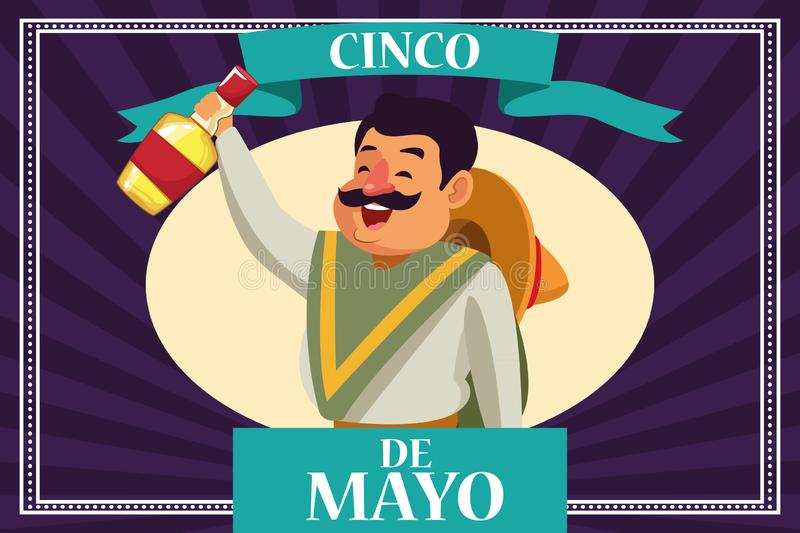 Cincode Mayo Mexico kaart vector illustratie