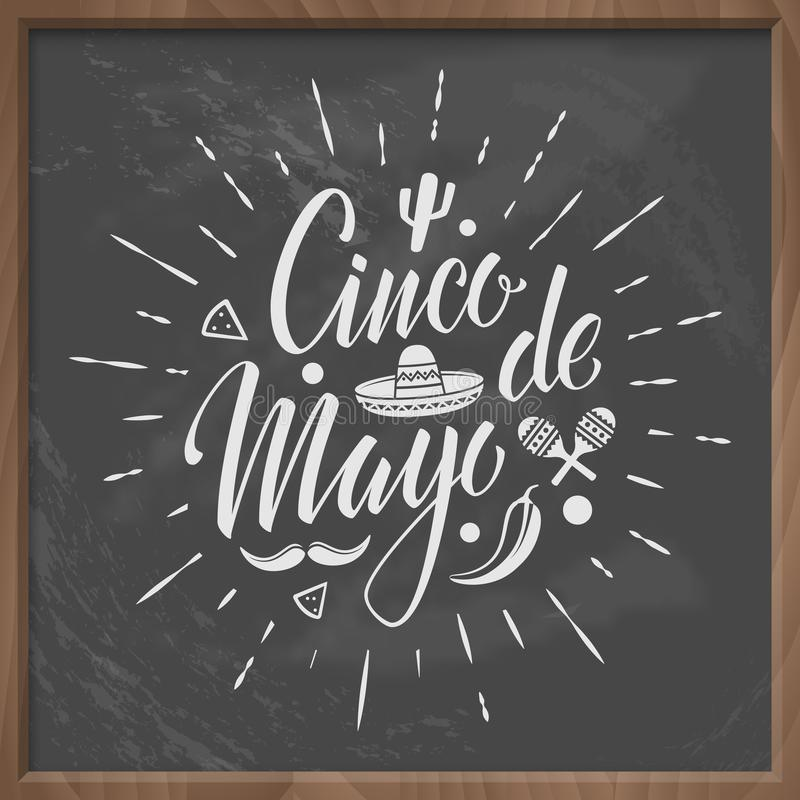 Cincode Mayo vector letteing embleem met bordachtergrond stock afbeelding