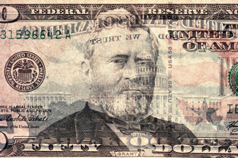 Cincuenta dólares (luz posterior) imagenes de archivo