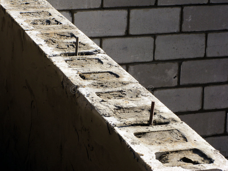 Cinder blocks house concrete foundation wall stock image for Cement block foundation