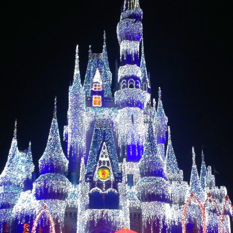 Cinderella Castle en la Navidad fotos de archivo libres de regalías