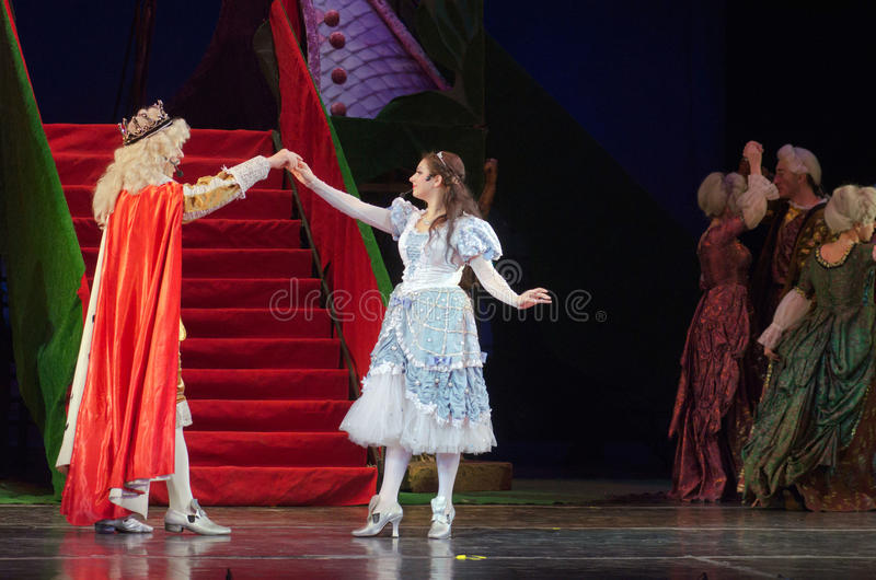 Cinderella. DNIPRO, UKRAINE - JANUARY 5, 2017: Musical play Cinderella performed by members of the Dnipro Opera and Ballet Theatre royalty free stock photos