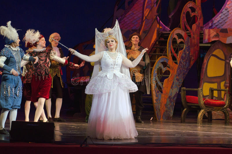 Cinderella. DNIPRO, UKRAINE - JANUARY 5, 2017: Musical play Cinderella performed by members of the Dnipro Opera and Ballet Theatre royalty free stock image