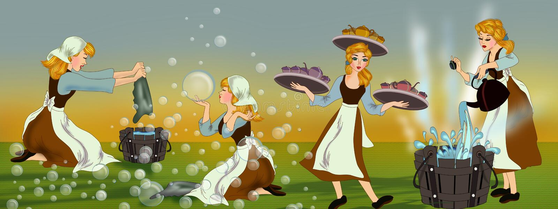 Cinderella e seu nunca término trabalham em casa ilustração do vetor