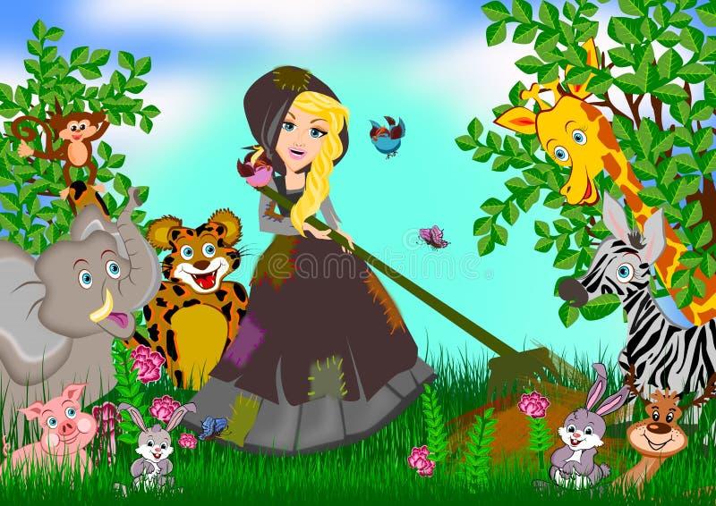Cinderella em horas de verão ilustração do vetor