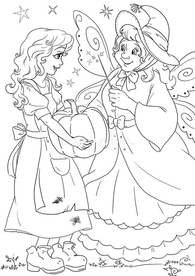 Cinderella en feemeter royalty-vrije illustratie
