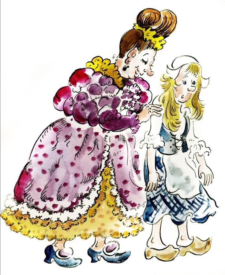 Cinderella en haar stiefmoeder stock illustratie