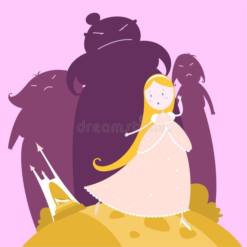 Cinderella en haar zusterssprookje vector illustratie