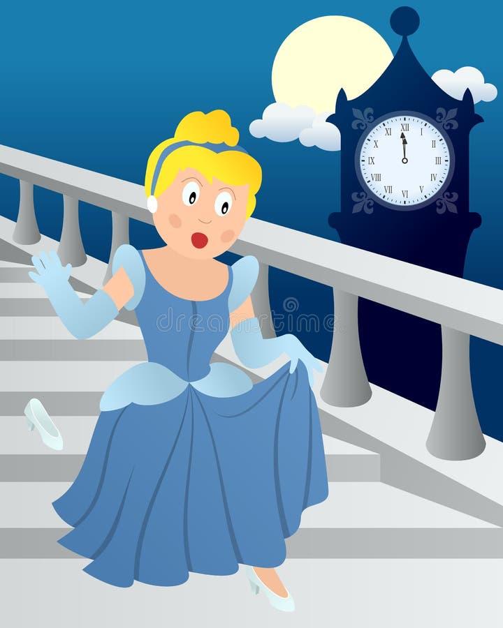 Cinderella en la medianoche ilustración del vector