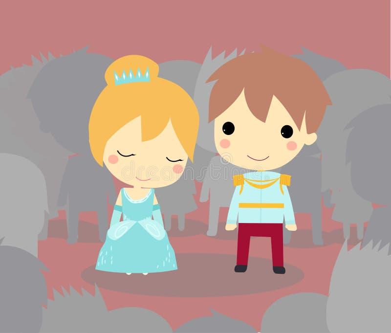 Cinderella en Prins royalty-vrije illustratie