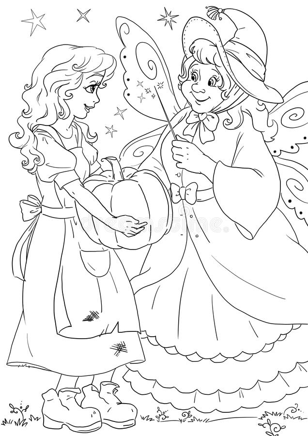 Cinderella and fairy godmother stock image