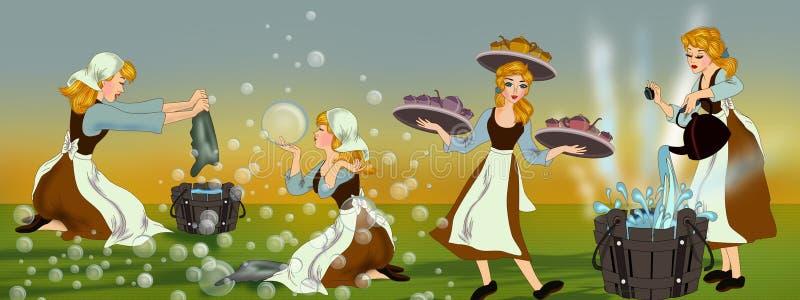 Cinderella and her never ending works at home vector illustration