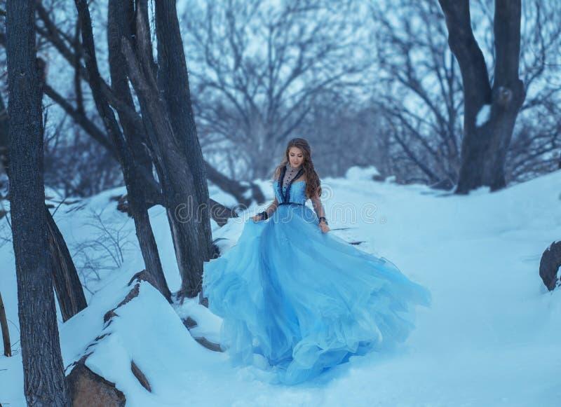 Cinderella i ett lyxigt som är frodig, tappning, och innegrejblått klär att fladdranden på körningen, körningar down trappan royaltyfri foto